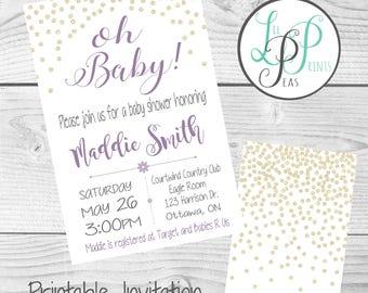 Glitter Baby Shower Invitation, Gender Neutral Baby Shower, Sparkly Baby Invitation, Modern Shower Invitation, Feminine Shower Invitation