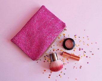 Bright Pink Glitter Makeup Bag, Bright Pink Sparkly Bag, Hot Pink Cosmetic Bag, Sparkly Pink Makeup Bag, Pink Glitter Case, Hot Pink Bag,