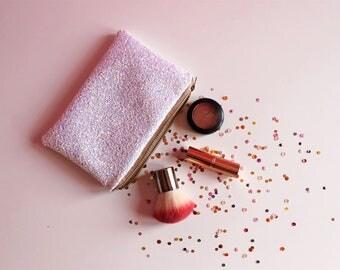 White Iridescent Glitter Makeup Bag, Sparkly Iridescent Toiletry Bag, Sparkly White Toiletry Bag, White Iridescent Cosmetic Bag, Iridescent,