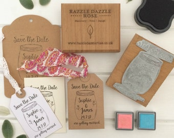 Personalised Save the Date Wedding Rubber Stamp - Mason Jar Design