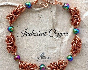 Iridescent Magnetic Hematite Copper Bracelet | Magnetic Bracelet | Copper Bracelet | Arthritis Healing Bracelet | Arthritis Jewelry | Magnet