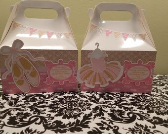 Ballet party favor box, Ballet gable box, 10 Ballet party favor gable box, Ballet favor box
