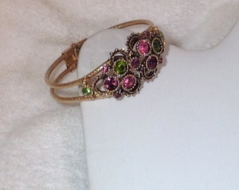 Purple Green and Pink Sarah Coventry Bracelet