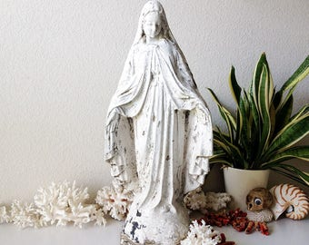Vintage concrete Mary statue large stone Madonna garden statuary Virgin Mother weathered white chippy paint cement religious figure icon
