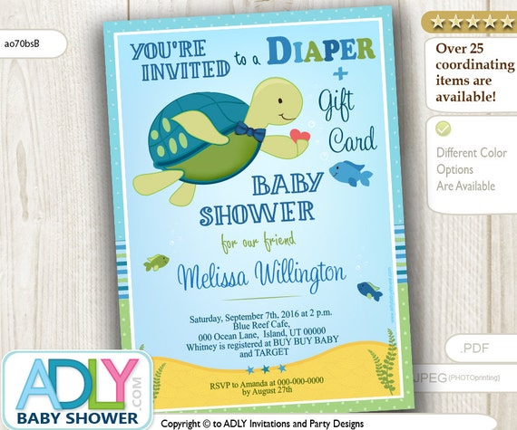 Turtle Diaper Gift Card Baby Shower Invitation for Boy Shower