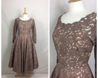 1950s Dress, Full Skirt, Party, Wedding, Taupe, UK size 8, US size 6.