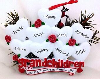 9 Grandchildren Personalized Christmas Ornament / Grandparents Ornament / Grandmother Ornament / Grandfather Ornament