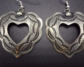 Signed NAVAJO Hand Stamped HEARTS Sterling Silver EARRINGS Pierced Dangle Heart