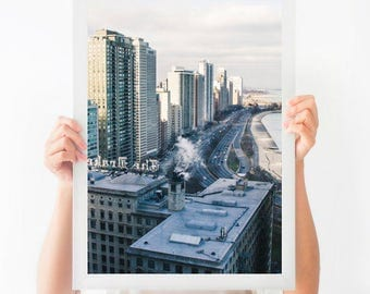 Chicago Art Print, Chicago Photography, Chicago Skyline Print, Lake Shore Drive Print, Chicago in Winter Art, Architecture Art, Large Art