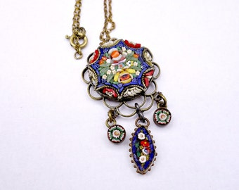 HOLD for POODLE Micro Mosaic Art Deco Pendant Necklace, Vintage Micro Mosaic Pendant, Was 175.00 now 145.00