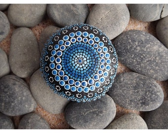 Aboriginal Dot Painted Rock, Water design, Acrylic Painting, Painted rock, blue decor, ornament or paper weight