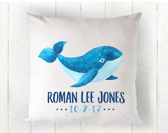 Whale Pillow, Nautical Decor, Beach Decor, Personalized Pillow, Personalized Boys Pillow, , Baby Pillow, Personalized Baby Pillow, RyElle