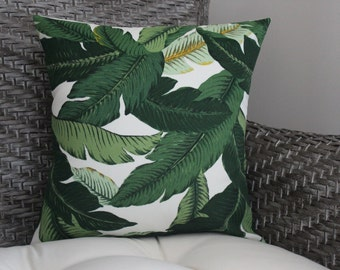 Palm Leaf Pillow - Tropical Leaf Pillow - Green Pillow - Patio Porch Pillow - Summer Decor - Indoor/Outdoor Pillow Cover - Beach Decor