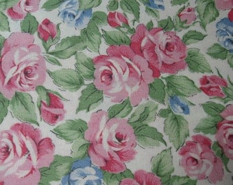 """Pink and  Blue Roses, fabric, floral, print,     36"""" x 1 yard  (Pink and Blue Roses)"""