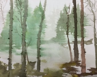 Scenic Landscape-Trees- ORIGINAL Watercolor Painting-Plein Aire Painting-not a print-9x12