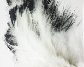 Black and White Marabou Feathers 4-6 inches, 6 grams used in Native American Craft