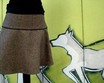 Rock wool rock winter rock herringbone Black/Brown winter skirt ladies