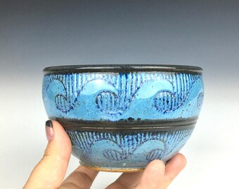 ceramic bowl, nautical pottery, sgraffito pottery, salad bowl, soup bowl, cereal bowl, blue, aqua, wheel thrown