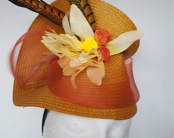 Yellow Wedding Fascinator with Feathers for Ascot,Wedding,Proms