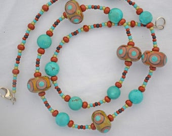One-of-a-Kind Turquoise & Lampwork glass beaded necklace