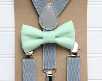 Bowtie and Suspenders Set/Mint Bowtie/Gray Suspenders/Baby and Toddler Bowties/Birthday and Wedding Sets