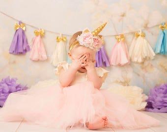 Pink and gold Unicorn headband, couture headband, baby headband, ott bow, over the top bow, unicorn horn, pink and gold headband