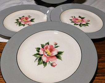 Set of 4 Homer Laughlin 10 1/4 inch Empire Grey Dinner Plates