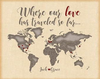 Custom World Map, Wedding Gift for Couples, Engagements, Anniversaries -  Personalized Art Print, Quote, Names, Love heart Passport | WF46