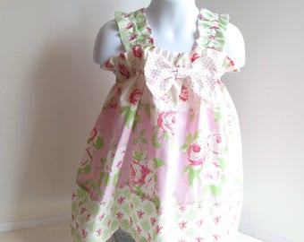Girls Sz 2 Summer Dress, Girls Dress, Pink And Green Pastels, Girls Summer Clothes, Girls Summer Clothing, Cottage Chic.
