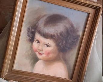 Vintage Painting Child Cottage Romance