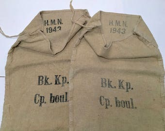 Two (2) Vintage European Grain Sacks from 1943 in Excellent Condition (X4283)