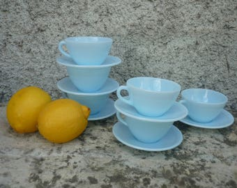 Six Duralex French espresso small coffee cups and saucers blue milk glass