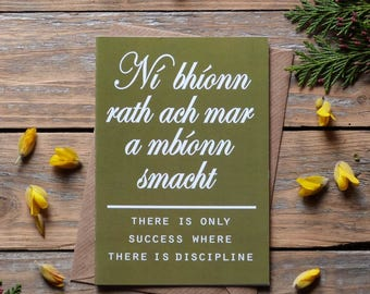 Cártaí Seanfhocal  - graduation card, gaeilge, Irish language cards, made in Ireland - Ní bhíonn rath ach mar a mbíonn smacht, sf3