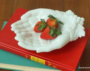 Milk Glass Hands Dish Westmoreland Glass 1950's Trinket Tray Soap Dish Candy Dish Mismatch Wedding Cottage Chic Decor  Vintage