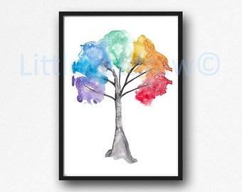 Tree Of Life Print Rainbow Tree Chakra Tree Wall Art Home Decor Art Bedroom Wall Decor Print Nature Wall Decor Unframed