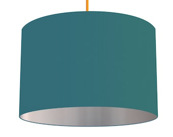 Teal Blue Linen Fabric Drum Lampshade With Brushed Metallic Silver Effect Lining, Small Lampshade 20cm - Large Lampshade 40cm