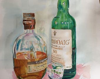 8 X 10 Watercolor of Scotch Bottles and Glass