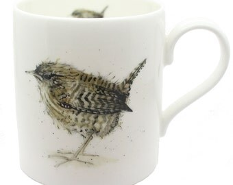 Wren Mug - Fine Bone China, Bird Gift, Country Kitchen
