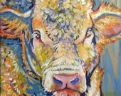 Who you calling PINK? bull cow painting on wood