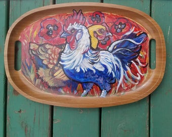 rooster cock hen chicken hand painted on a bamboo tray