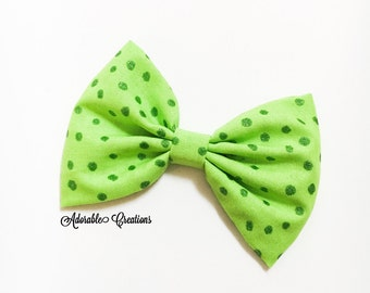 lime glitter dots bow hair bow green polka dots