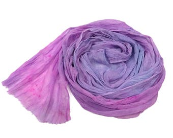 Hand dyed Silk crinkle chiffon fabric scarf for nuno felting color: Lavender/Pink