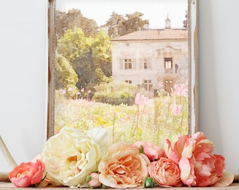 French Country Estate House Watercolor Art Print, French Garden Cottage Decor, LIving Room Bedroom Barhroom, pastel wall art, gift for her