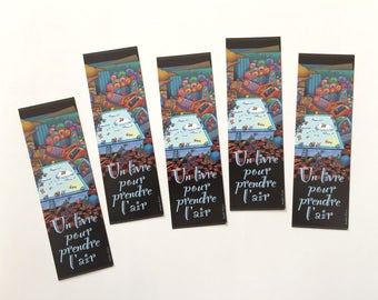 Set of bookmarks one book to take the air, mark illustrated page, collection of bookmarks, reading accessory