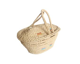 Vintage Natural Sweet Grass Basket with Lid