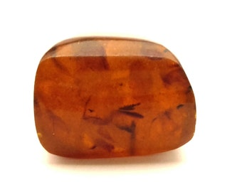 Amber Baltic Brooch Genuine Natural 15.53 Gr Dark Honey Brown Stone
