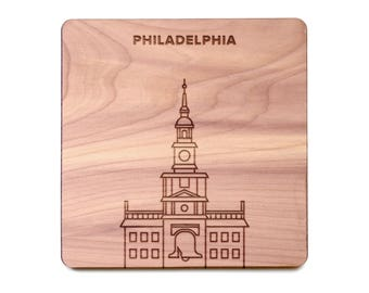 Philadelphia Coaster - City Hall and Liberty Bell