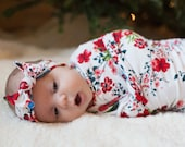 Ruby Starlet Swaddle Blanket and Headband Set / Knit Swaddle/ Newborn