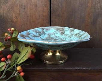 Vintage Delft Holland Pottery Pedestal Bowl Light Blue Goldtone Highlights 1950's Mid Century Retro