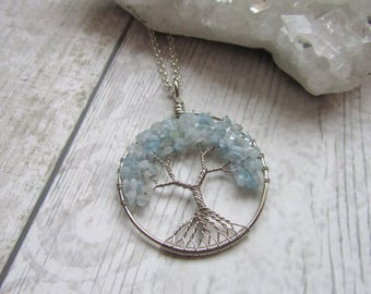 Aquamarine Gemstone Tree Of Life Pendant Necklace, Silver Plated